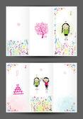 K narozeninám pohlednice, obálka a vnitřní stránky. design pro tisk — Stock vektor