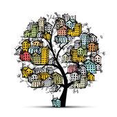 Albero di città, schizzo per il vostro disegno — Vettoriale Stock