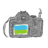 Sketch of camera for your design — Stock Vector