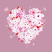 Skiss av blommigt hjärta form för din design — Stockvektor