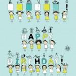 您的设计与滑稽女孩的生日贺卡 — 图库矢量图片