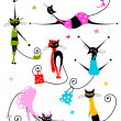 Black cats in fashion clothes for your design — Stock Vector