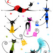 Vector de stock : Black cats in fashion clothes for your design