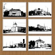 Royalty-Free Stock ベクターイメージ: Set of city pictures on wooden wall for your design