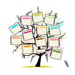 Art tree with papers for your text, hand drawn sketch — Imagen vectorial
