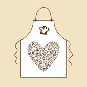 I love cooking! Apron with kitchen utensils sketch for your design — 图库矢量图片