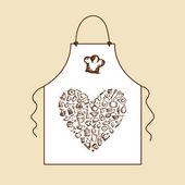 J'aime cuisiner ! tablier avec croquis d'ustensiles de cuisine pour votre conception — Vecteur