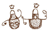 Funny aprons with kitchen utensils sketch for your design — 图库矢量图片