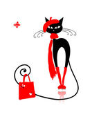 Black cat in fashion clothes with shopping bag for your design — Stock Vector