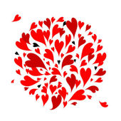 Red hearts background for your design — Stock Vector