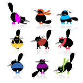 Funny black fat cats silhouettes in fashion clothes for your design — Stock Vector