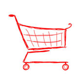 Red shopping cart, sketch for your design — Stock Vector