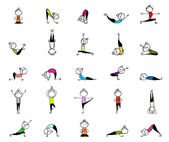 Practicing yoga, 25 poses for your design — Stock Vector