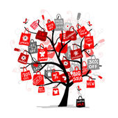 Shopping bags on tree for your design, big sale concept — Stock Vector