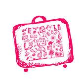 Sommerferien skizzieren, koffer für ihr design — Stockvektor