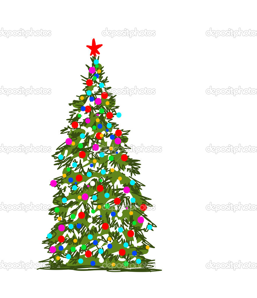 rbol de navidad dibujo abstracto para su diseo u vector de stock