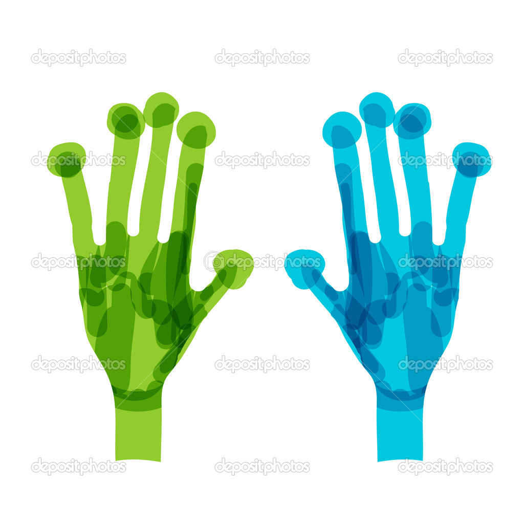 Green and blue hands. Ecology concept for your design  Stock Vector #12411856