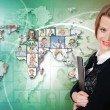 Stock Photo: Young woman against world map background