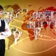 Young man against world map background — Stock Photo #10828171