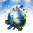 Planet earth with solar energy batteries — Stock Photo #10828497