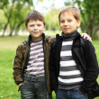 Stock Photo: Boy with friend in green park