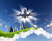 Plane on blue sky background — Stock Photo