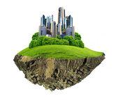 Nowoczesne miasto otoczone przyroda — Zdjęcie stockowe