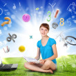 School girl and education objects and symbols — Stock Photo
