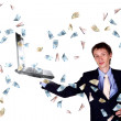 Stock Photo: Young businessmwith many banknotes