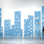 Businesswoman and green energy symbols — Stock Photo #10832166