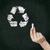 School blackboard and recycle symbol — Stock Photo