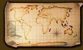 Mapa de mundo de papel antigo — Foto Stock