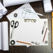 Tools and papers with sketches — Stock Photo #10928570