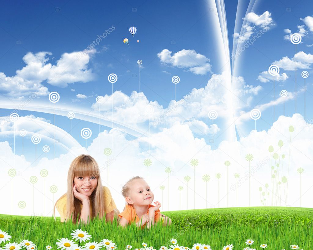 Young happy family outdoor on the ground — Stock Photo #10928000