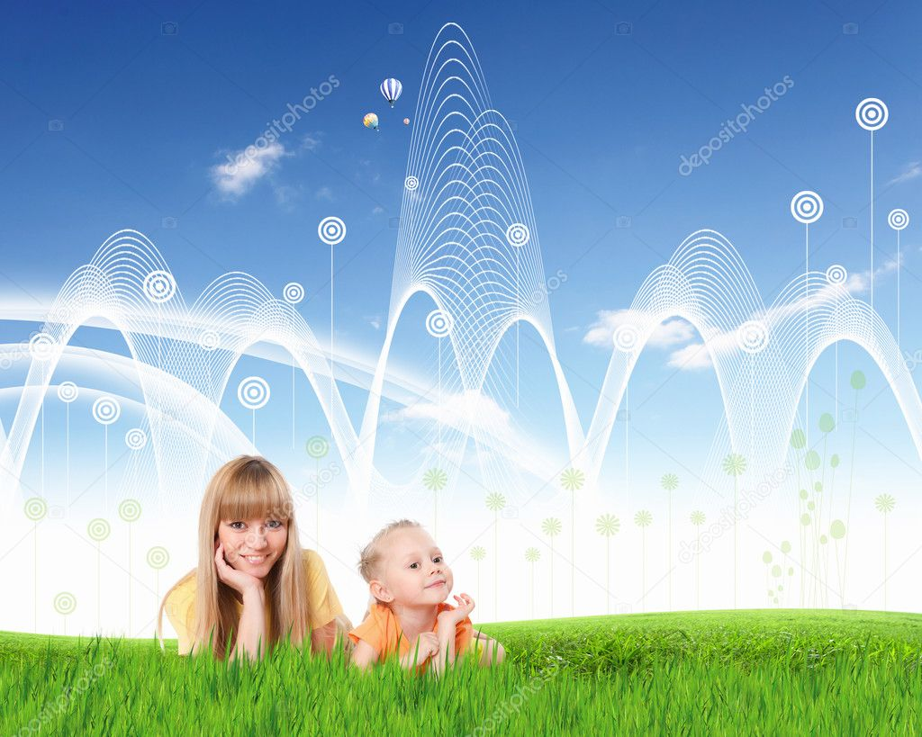Young happy family outdoor on the ground   Stock Photo #10942545