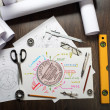 Stock Photo: Tools and papers on table