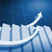 Charts and upward directed arrows — Stock Photo