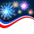 Stock Photo: White blank background and fireworks