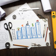 Tools and papers on the table — Stock Photo