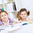Little girl and study - Stock Photo