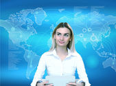 Podnikatelka a technologie související s pozadí — Stock fotografie