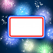 Royalty-Free Stock Photo: White blank background and fireworks