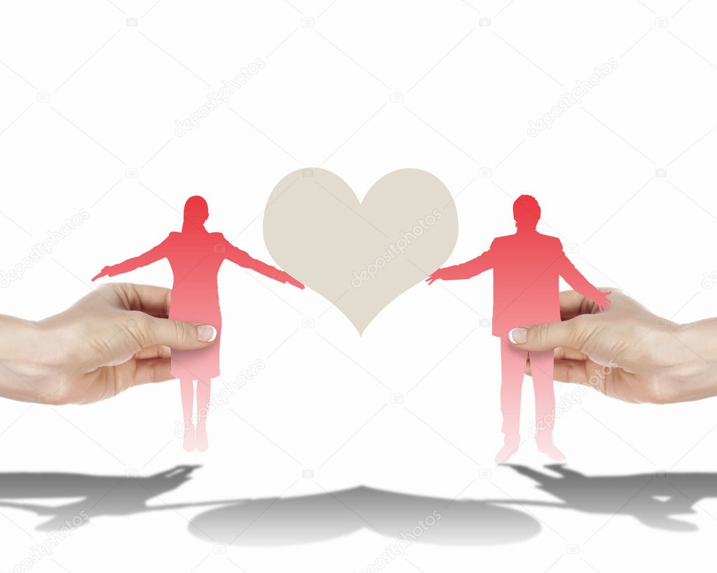 Silouettes of man and woman in love — Stock Photo #11234516