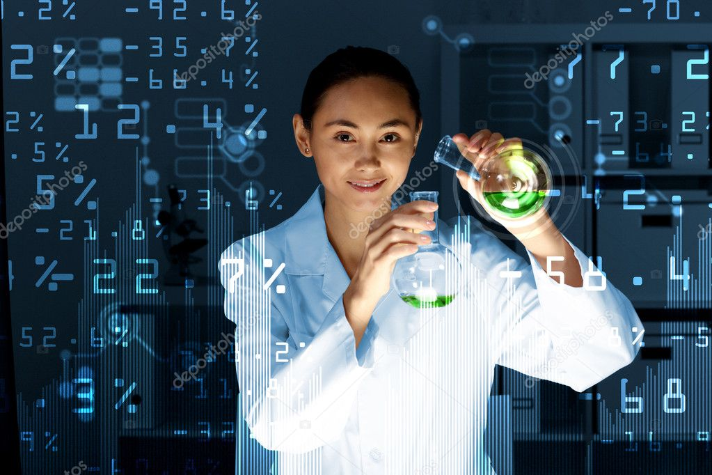Young scientist in laboratory in white uniform — Stock Photo #11273049