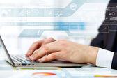 Pessoa de negócios, trabalhando no computador — Foto Stock