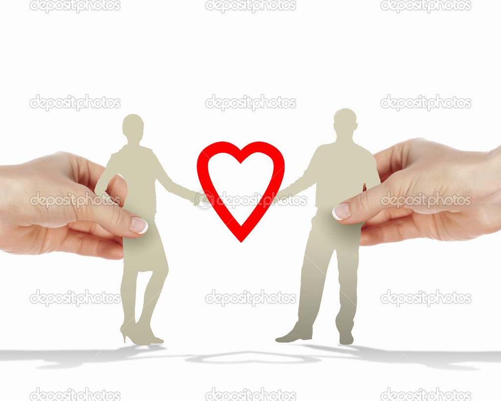 Silouettes of man and woman in love  Stock Photo #11320688