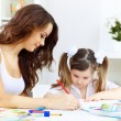 Mother and daughter studying — Stock Photo