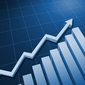 Charts and upward directed arrows — Stock Photo