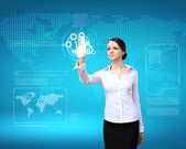 Businesswoman and technology related background — Stock Photo
