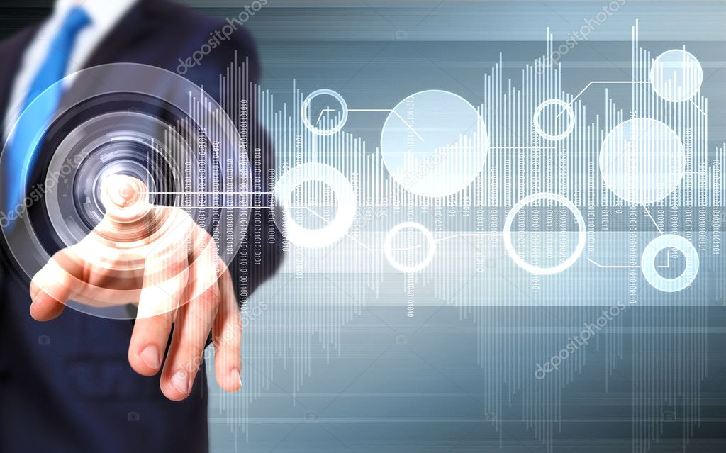 Business person working with modern virtual technology — Stock Photo #11357241